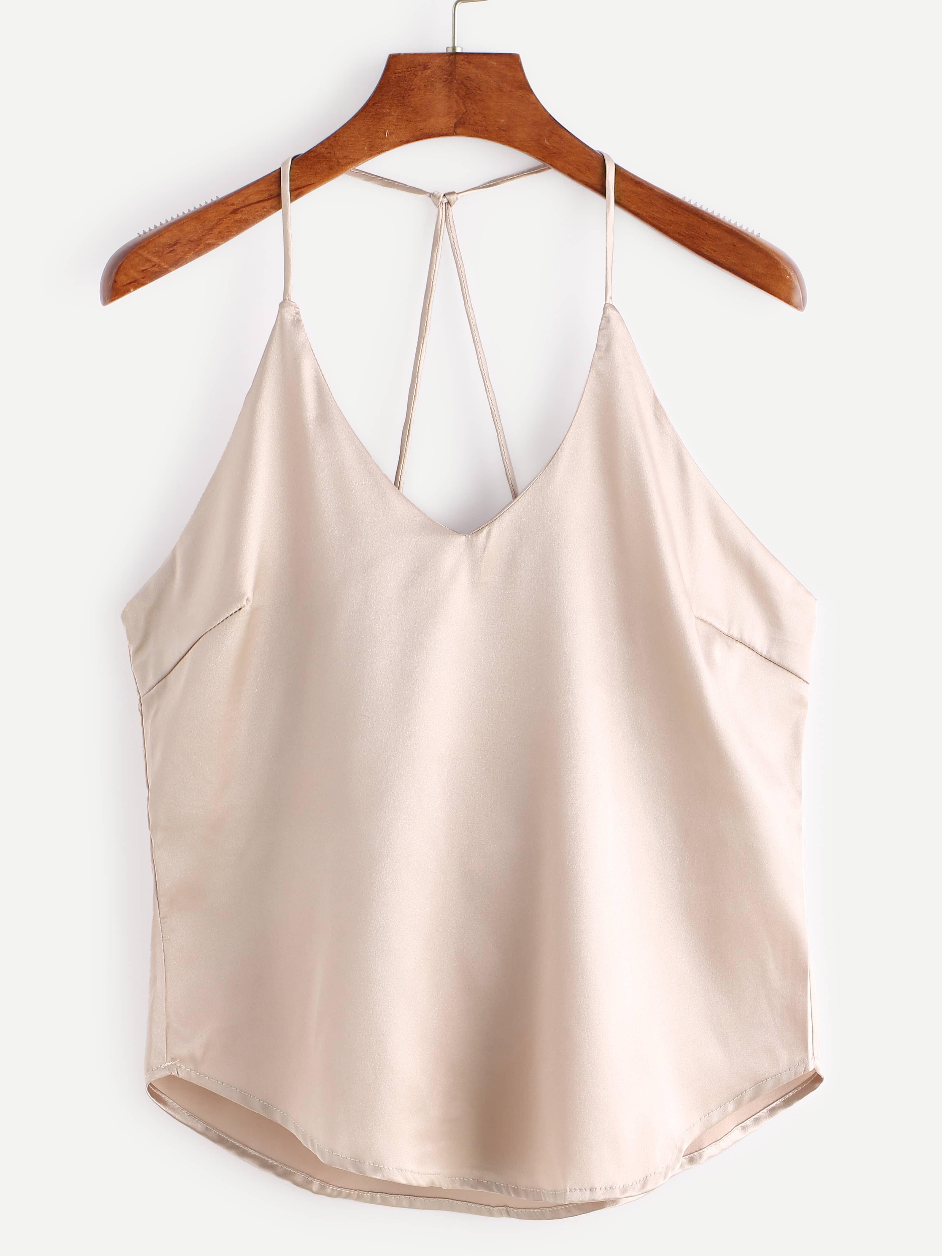 pink strappy back detail curved hem cami top shein. Black Bedroom Furniture Sets. Home Design Ideas
