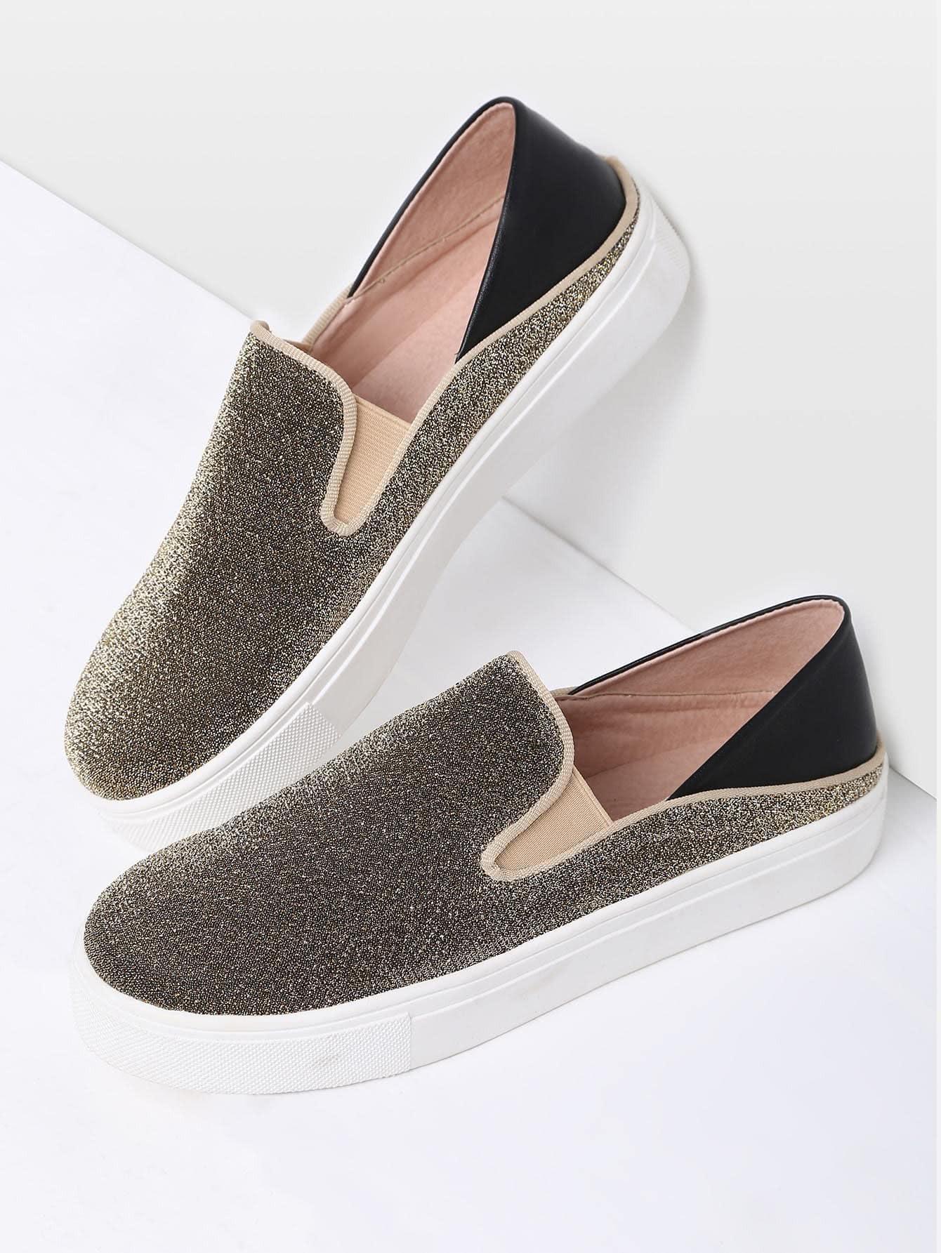 Фото Gold Round Toe Glitter Flatform Sneakers. Купить с доставкой