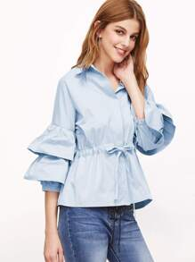 Layered Fluted Sleeve Drawstring Waist Blouse