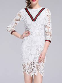 White Crochet Hollow Out Sheath Dress