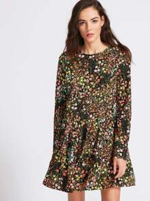 Multicolor Floral Print Split Back Tiered Dress