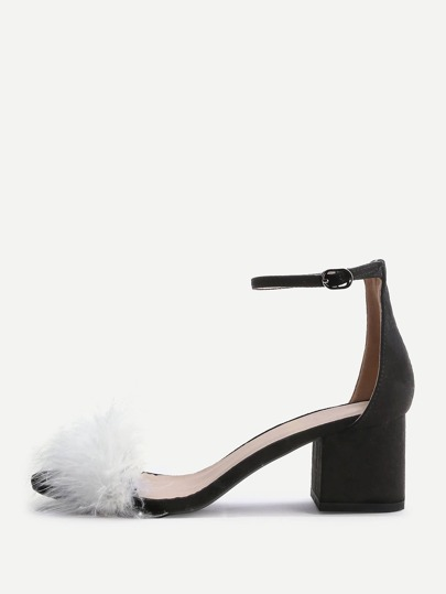 Black Faux Fur Ankle Strap Chunky Heeled Sandals