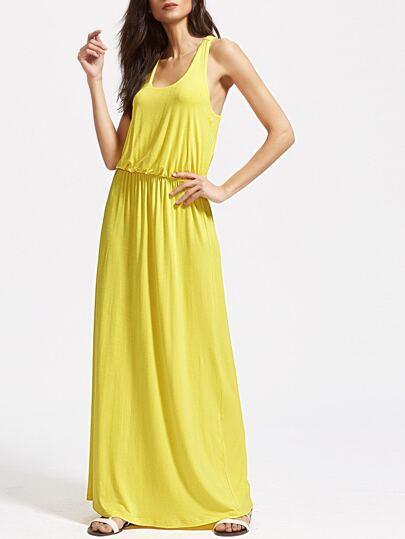 Yellow Scoop Neck Elastic Waist Racerback Tank Dress