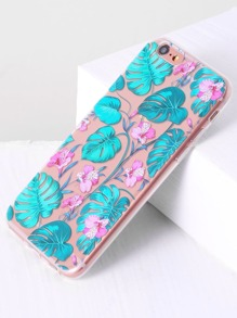 Blue Floral Print Transparent 6/6s Case