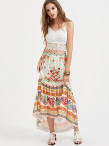 Floral Print Dip Hem Skirt