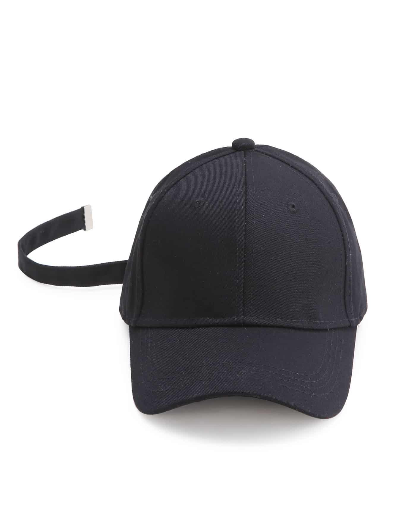 Фото Black Baseball Cap With Strap. Купить с доставкой