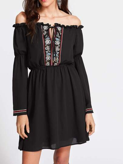 Tied Bardot Neckline Fluted Sleeve Embroidered Dress