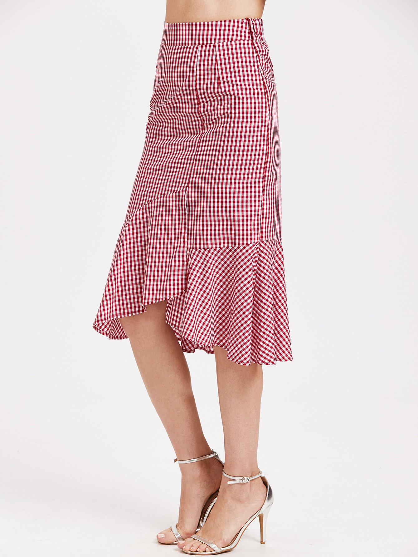 Red Gingham Ruffle Trim Asymmetric Skirt