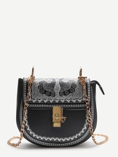 Black Printed Saddle Bag With Chain