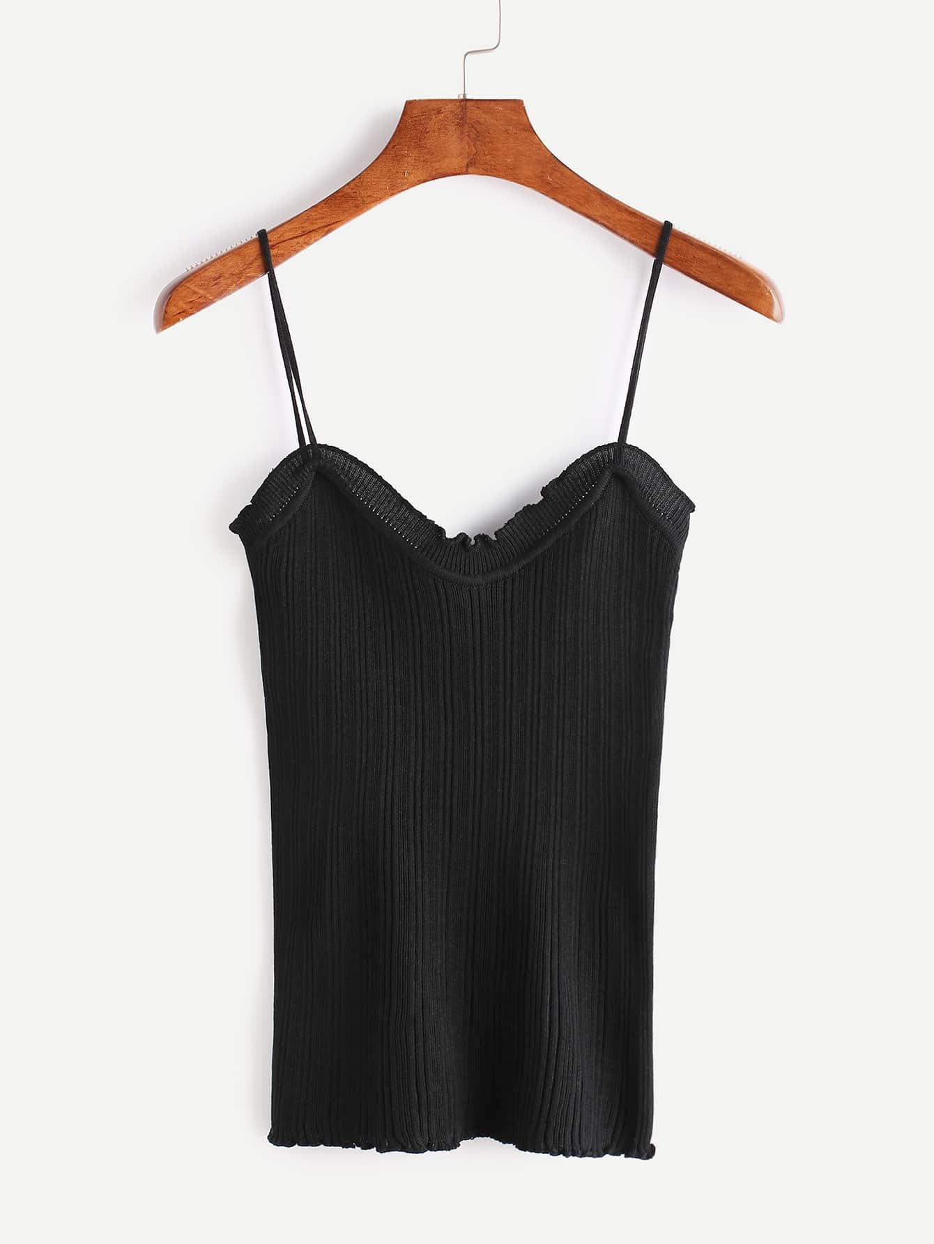 Black Ribbed Ruffle Cami Top vest170316103