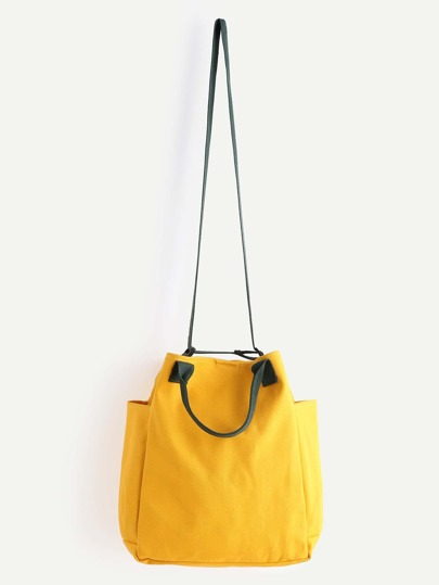 Yellow Canvas Crossbody Bag With Handle