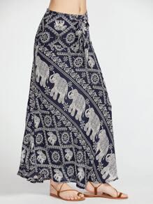 Vintage Print Bow Tie Longline Skirt