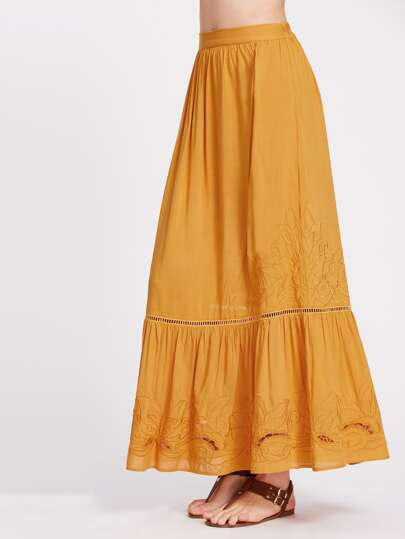 Lace Insert Cutout Flower Embroidered Tiered Skirt