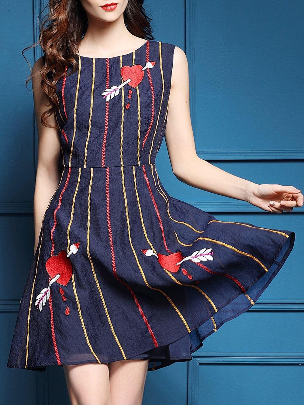 Фото Navy Hearts Embroidered A-Line Dress. Купить с доставкой