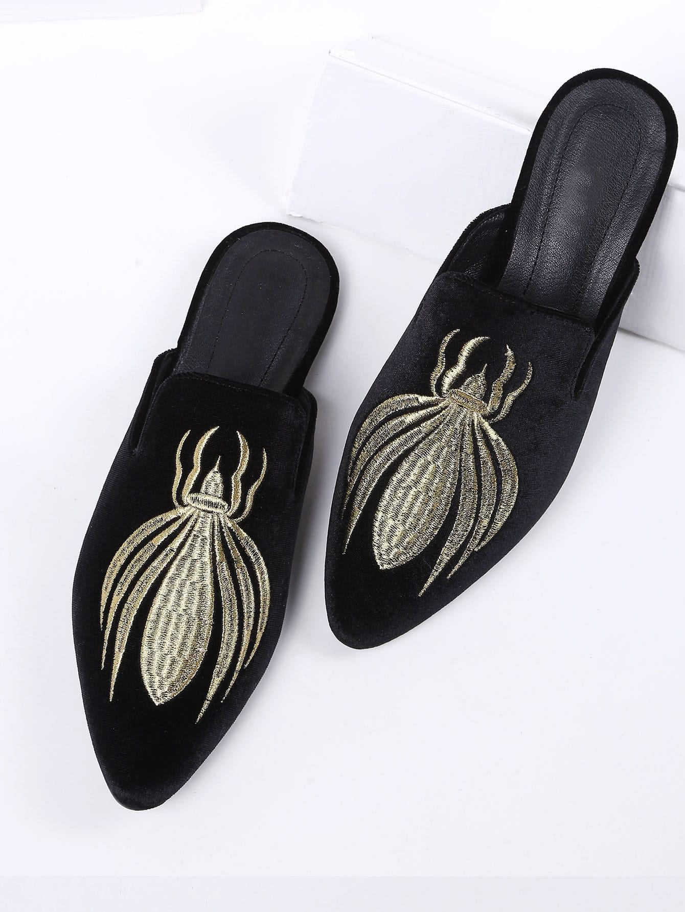 Image of Black Embroidery Point Toe Velvet Flat Slippers