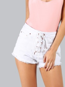High Waisted Lace Up Shorts OFF WHITE