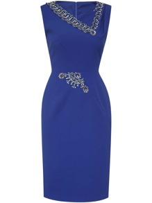 Blue V Neck Beading Sheath Dress
