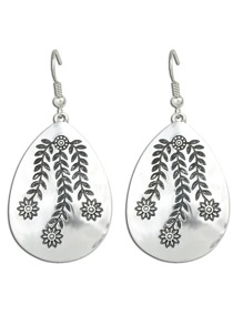 Punk Rock Silver Flower Drop Dangle Earrings
