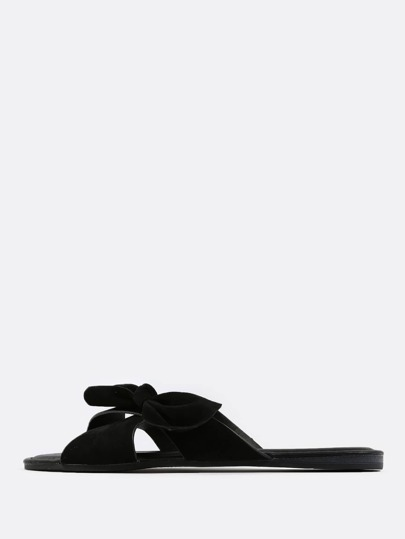 Faux Suede Cross Band Bow Sandals BLACK