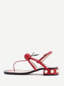 Rouge, faux, perle, tong, sandales, cerise