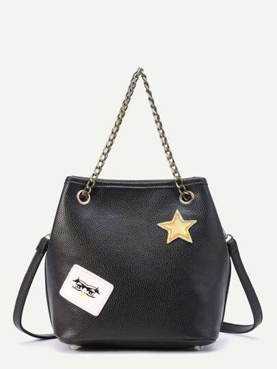 Star Patch PU Shoulder Bag With Chain