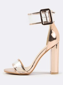 Clear Metallic Ankle Strap Heel ROSE GOLD