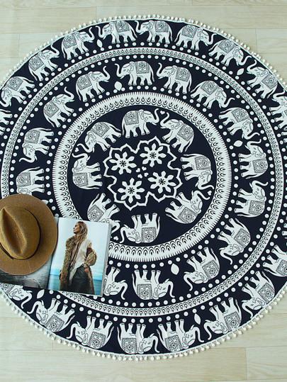 Elephant Print Pom Pom Trim Round Beach Blanket