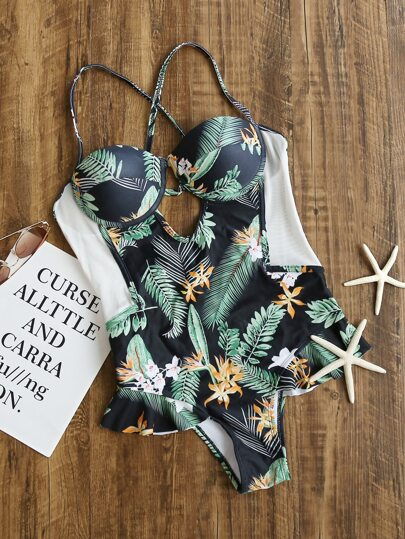 Tropical Print Ruffle Detail Cross Back Swimwear