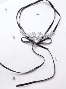 Black Rhinestone Flower Shaped Bow Tie Choker