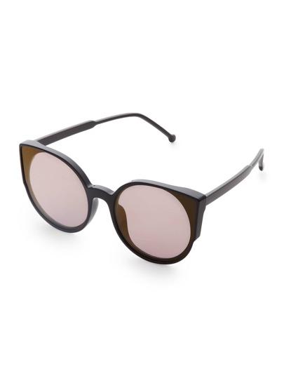 Golden Frame Black Sunglasses : Black Frame Gold Lens Sunglasses -SheIn(Sheinside)