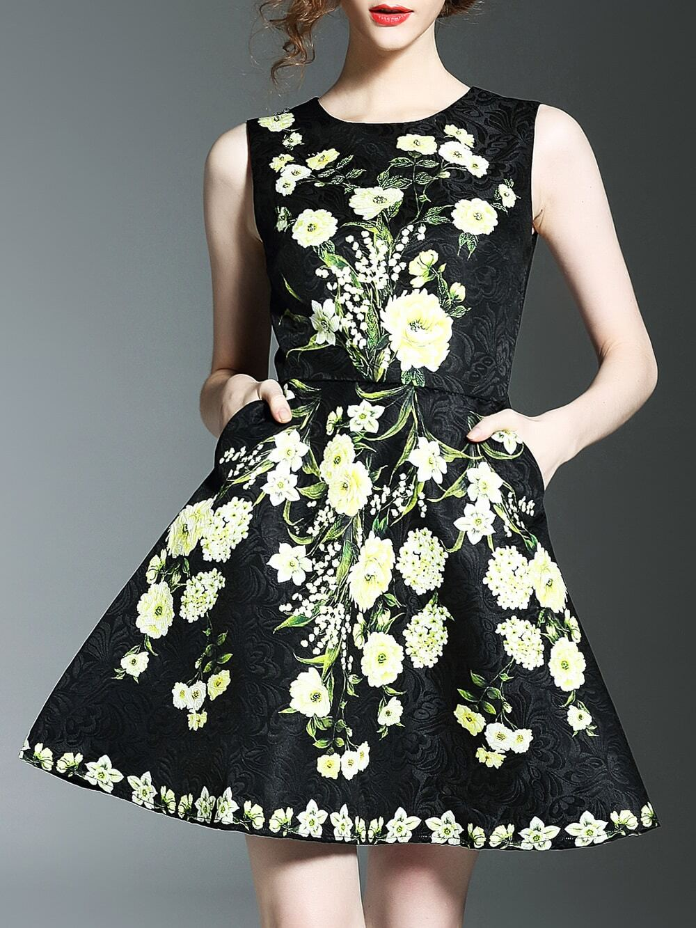 Фото Black Flowers Print Jacquard Pockets A-Line Dress. Купить с доставкой