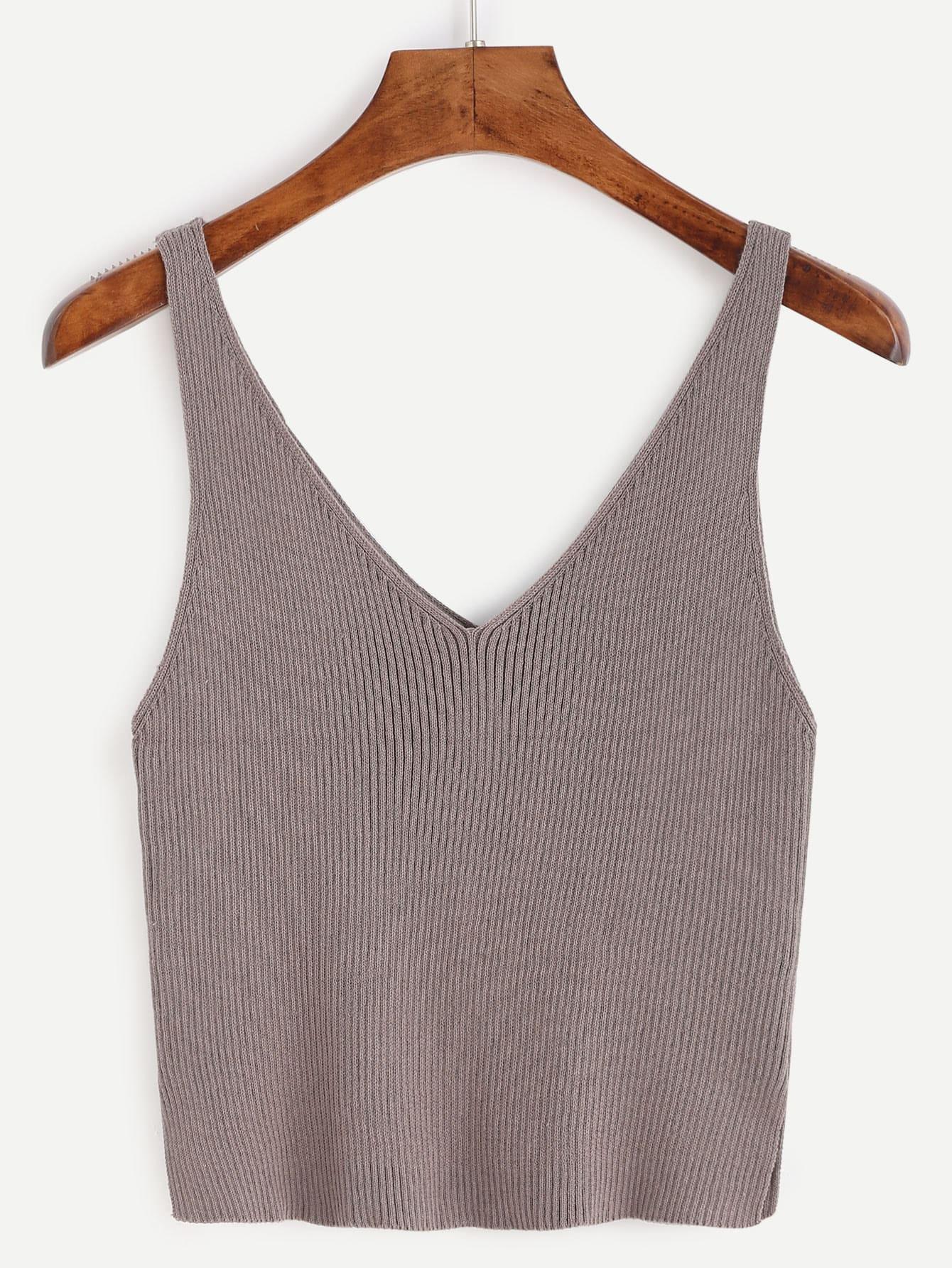 Фото Double V Neck Slit Ribbed Knit Tank Top. Купить с доставкой