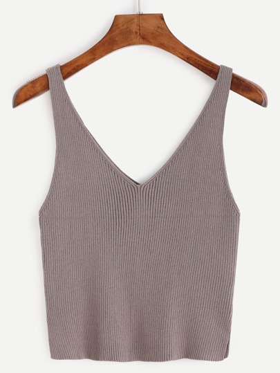 Double V Neck Slit Ribbed Knit Tank Top