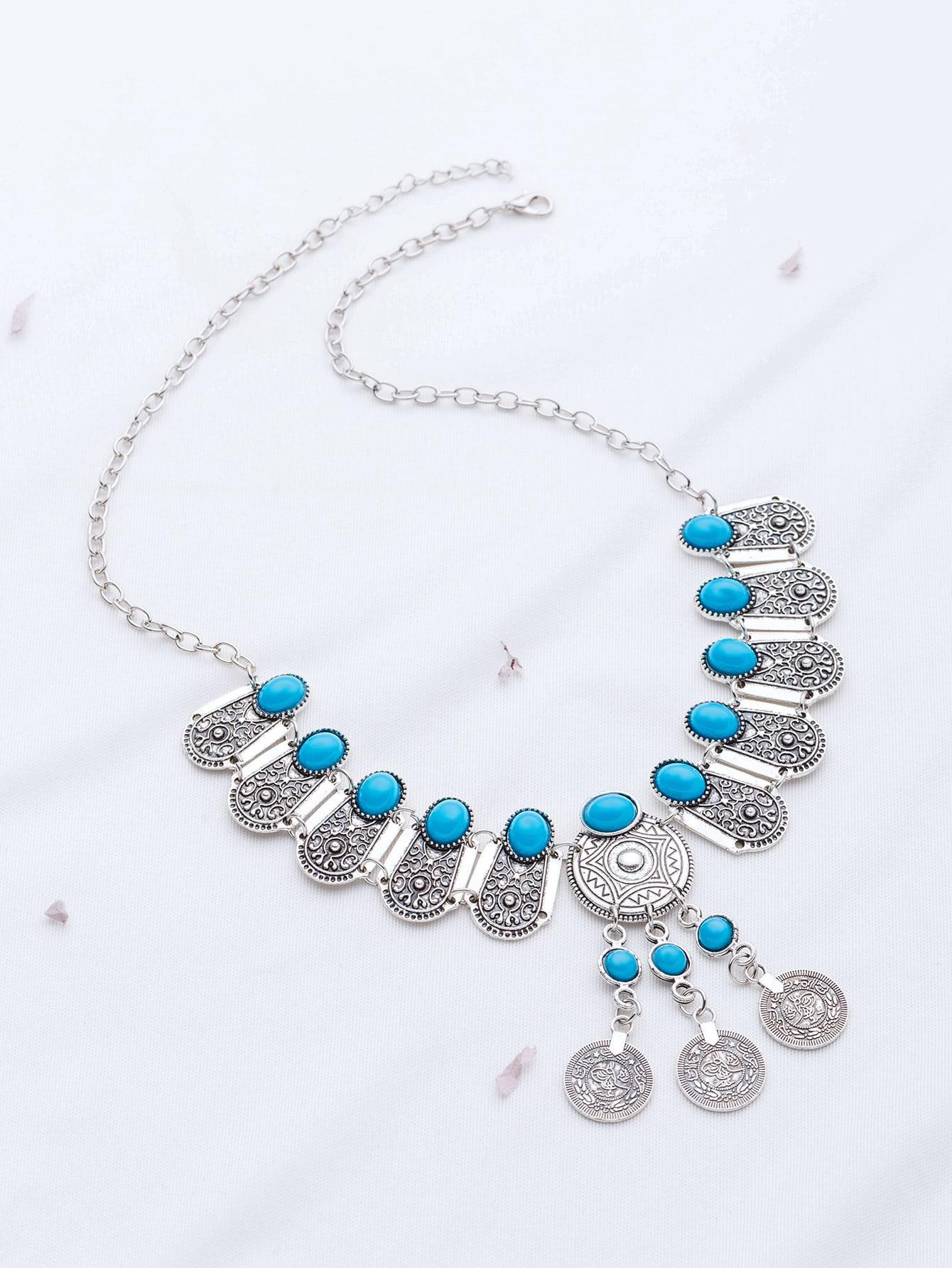 Фото Turquoise Coin Detail Statement Necklace. Купить с доставкой