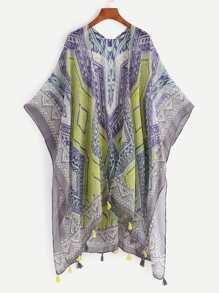 Kimono estampado azteca con fleco