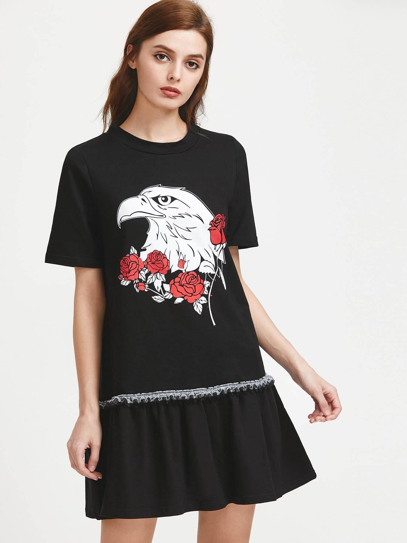 Фото Eagle Print Ruffle Trim Drop Waist Dress. Купить с доставкой