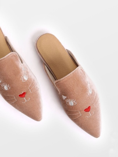 Apricot Cat Embroidery Point Toe Velvet Slippers