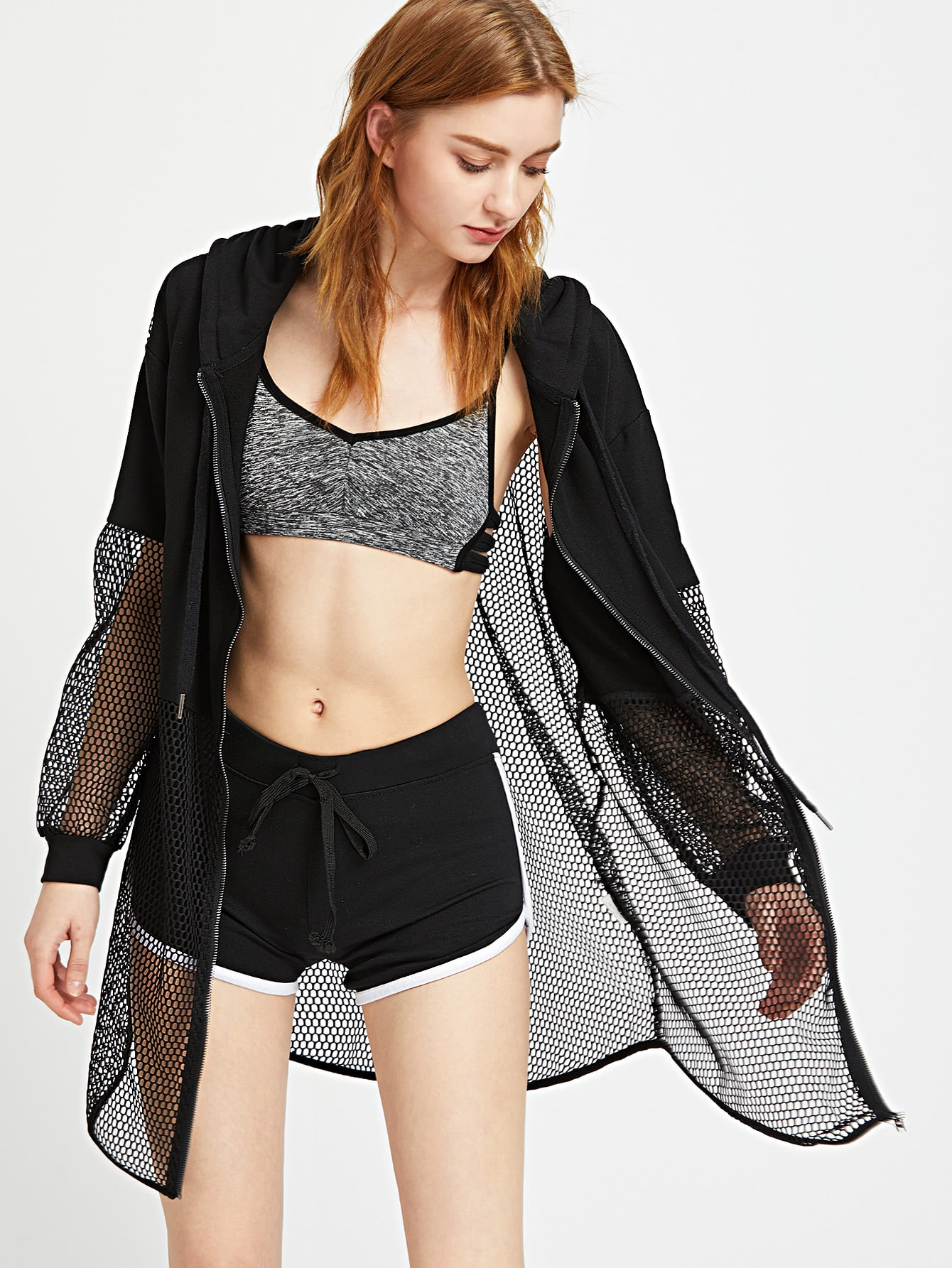 Fishnet Insert Zip Up Hoodie
