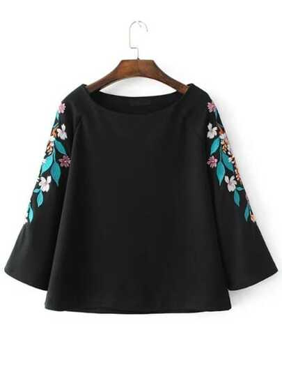 Raglan Sleeve Flower Embroidery Tunic Top