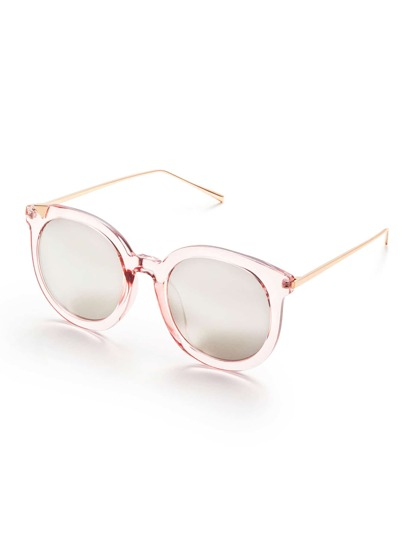 Pink Frame Metal Arm Clear Lens Sunglasses