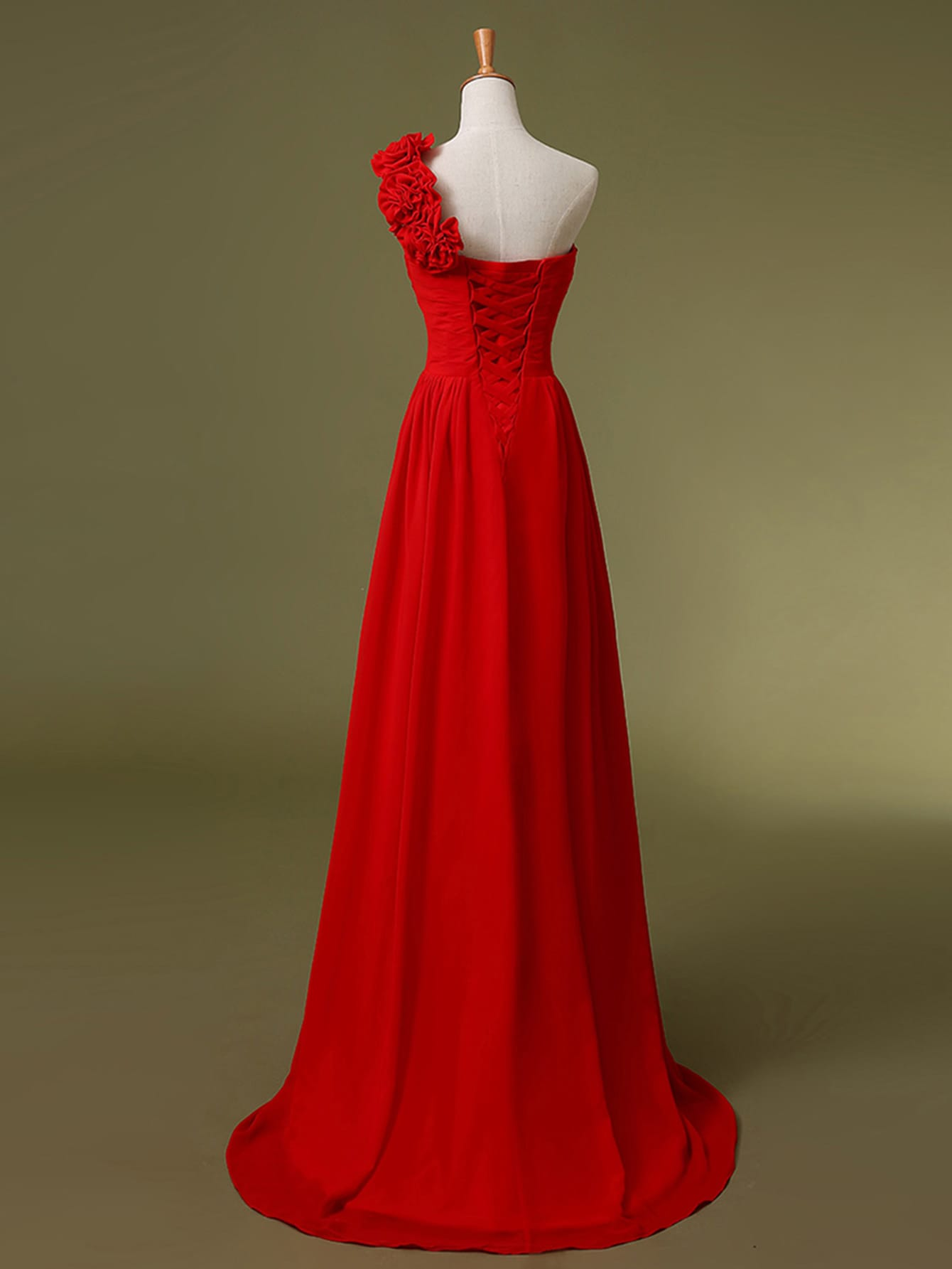 Red one shoulder flower trim maxi chiffon bridesmaid dress shein dress1703064132 ombrellifo Gallery