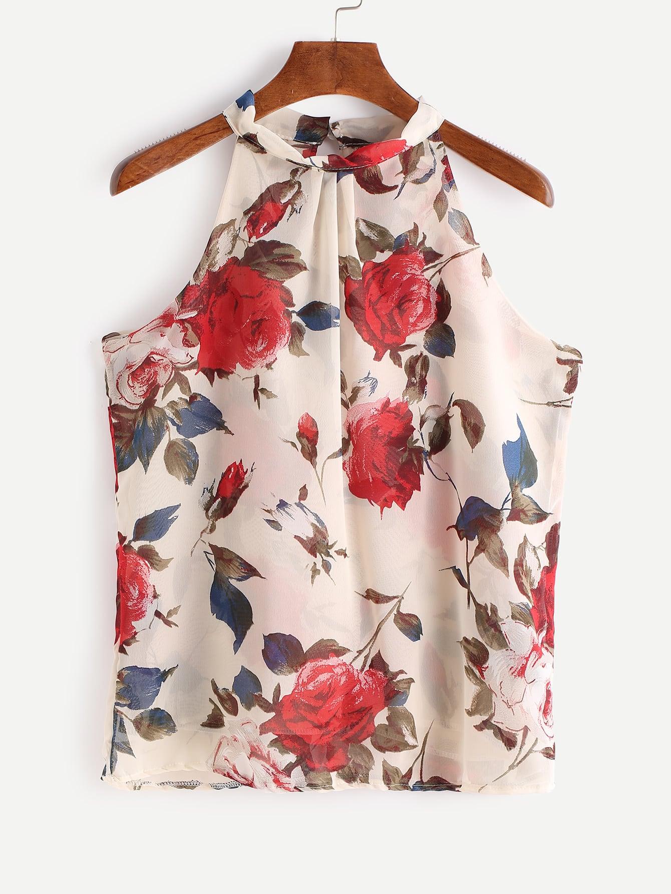 Фото Apricot Floral Print Sleeveless Chiffon Top. Купить с доставкой