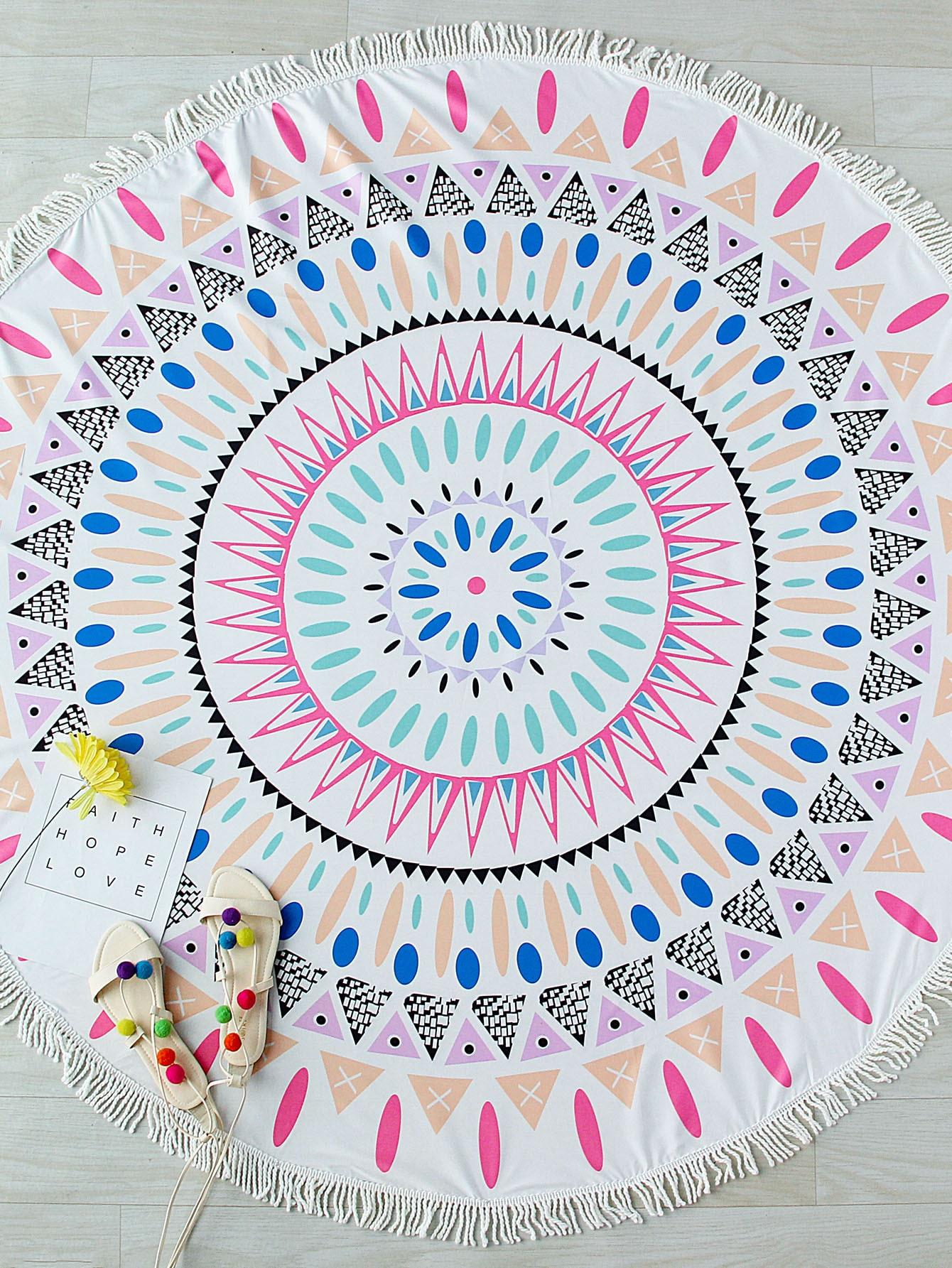 Фото Printed Tasseled Trim Round Boho Blanket. Купить с доставкой