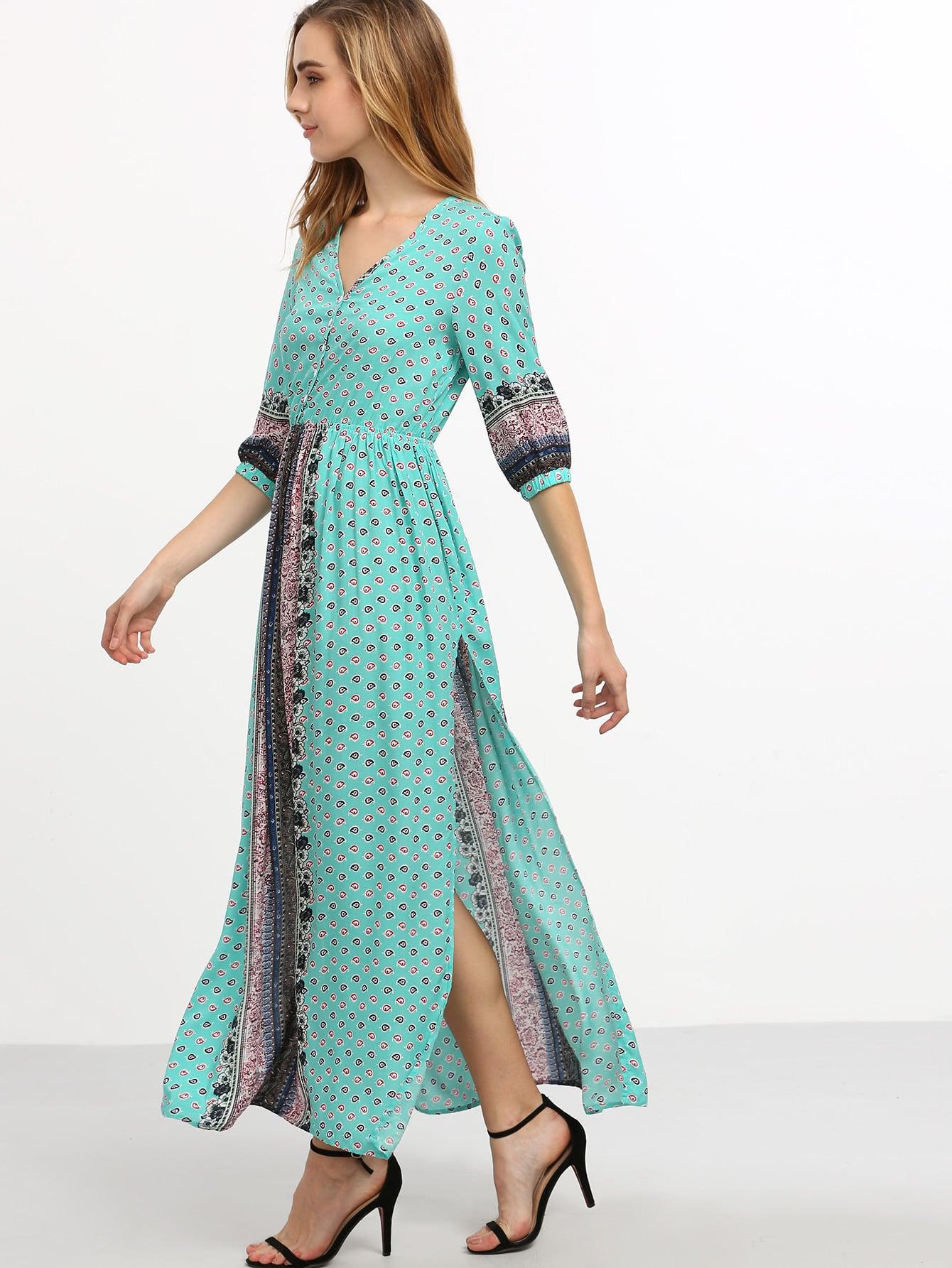 Фото Vintage Print Elbow Sleeve Split Side Maxi Dress. Купить с доставкой
