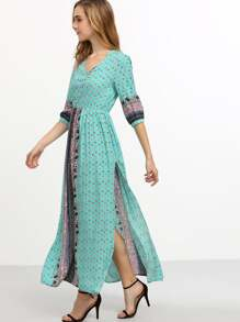 Blue Half Sleeve Vintage Print Split Maxi Dress