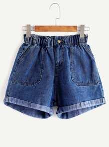 pantaloncini elastico in vita in denim - blu