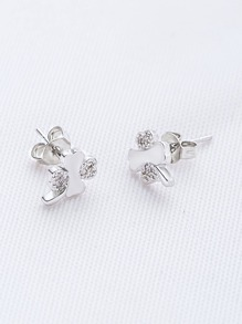 Silver Rhinestone Flower Shaped Stud Earrings