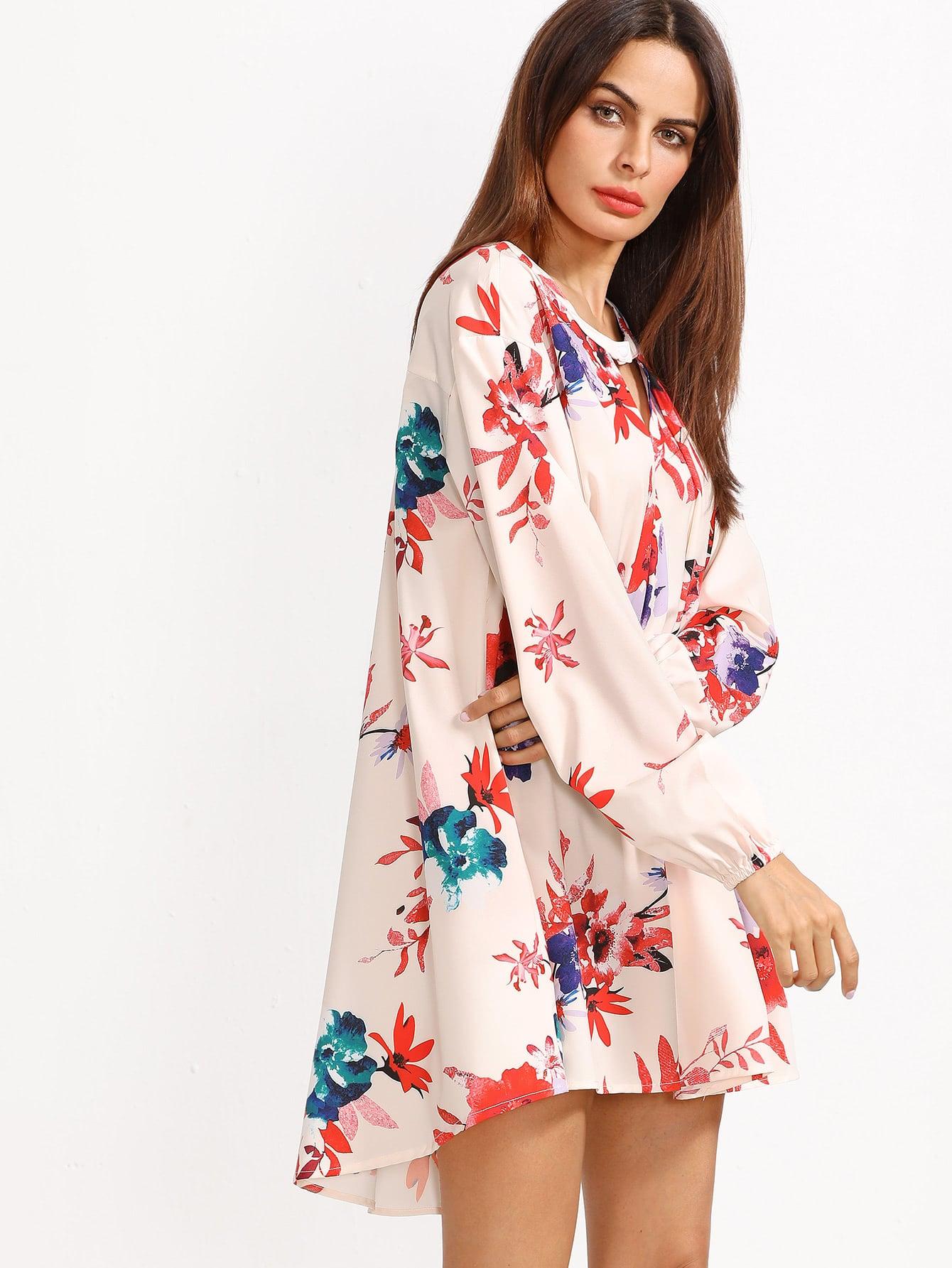 Фото Beige Cut Out Front Floral Dress. Купить с доставкой