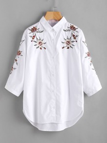 Pinstripe Flower Embroidery Curved Hem Blouse