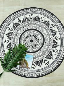 Black And White Print Boho Round Beach Blanket